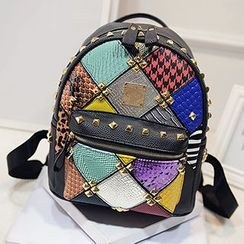 Youme - Studded Panel Faux Leather Backpack