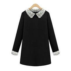 LIVA GIRL - Lace trim Long-Sleeve Dress