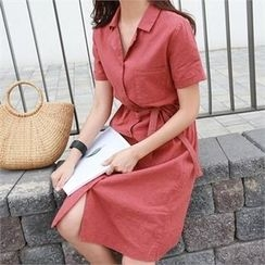 PIPPIN - Short-Sleeve Linen Blend Shirtdress with Sash