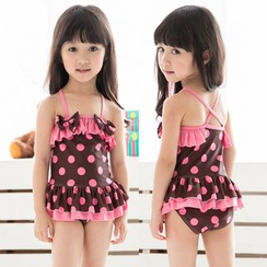 Mermaid's Tale - Kids Polka Dot Frilled Swimdress