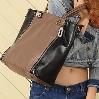Exull - Faux-Leather Zip-Accent Tote