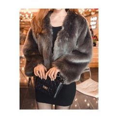 migunstyle - Open-Front Faux-Fur Jacket
