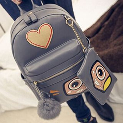 Youme - Heart Appliqué Faux Leather Backpack with Coin Purse