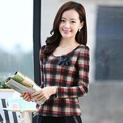 Romantica - Plaid Blouse with Brooch