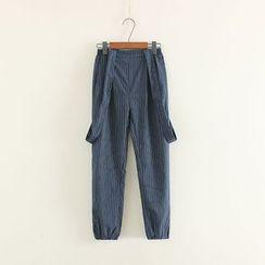 Mushi - Pinstriped Jumper Pants