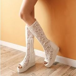 Shoes Galore - Platform Hidden Wedge Lace Trim Tall Boots