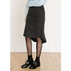 J-ANN - Dip-Back Wool Blend Midi Skirt
