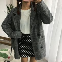 COOKIS - 格子针织西装外套