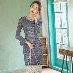 ode' - Faux-Pearl Neckline Lace Sheath Dress