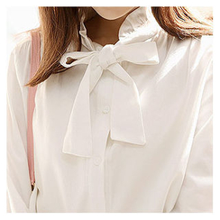Sechuna - Frill-Collar Tie-Front Blouse