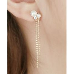 Miss21 Korea - Faux-Pearl Chain Drop Earrings