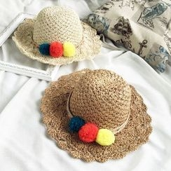FROME - 毛毛球稻草帽子