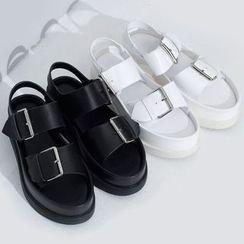 Sonne - Faux-Leather Buckled Platform Sandals