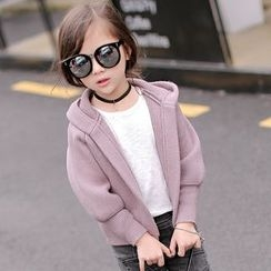 Candy Baby - Kids Open Front Hooded Knit Jacket