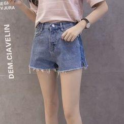 YANKSO - Raw Hem Denim Shorts