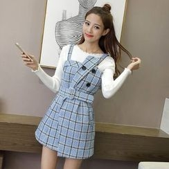 Ashlee - Plaid Pinafore Dress