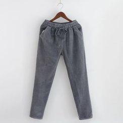 Heybabe - Corduroy Drawstring Pants