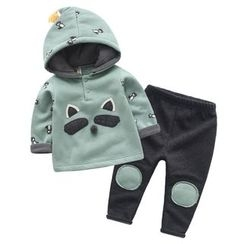 lalalove - Kids Set: Cartoon Hoodie + Knee Patch Pants