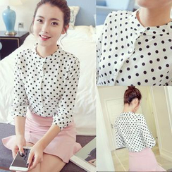 Whitney's Shop - Polka Dot 3/4-Sleeve Chiffon Blouse