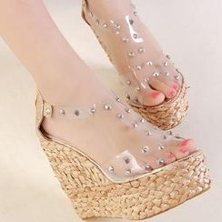 Mancienne - Studded Clear Espadrille Sandals