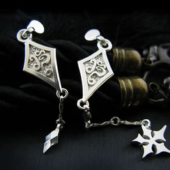 Sterlingworth - Set: Sterling Silver Ninja Star Single Earring + Sterling Silver Drop Single Earring