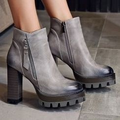 Gizmal Boots - Chunky Heel Platform Ankle Boots