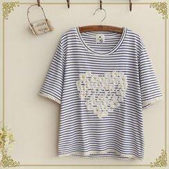 Fairyland - Short-Sleeve Floral Embossed Striped T-Shirt