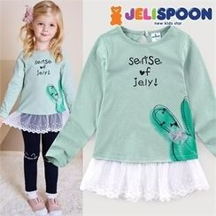 JELISPOON - Girls Lace-Hem Printed Top