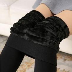 Meigo - High-waist Fleece-lined Stirrup Leggings