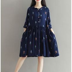 Clover Dream - Elbow-Sleeve Print Pleated Dress