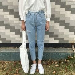 Jeans Kingdom - Ripped Cropped Jeans