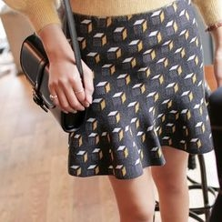 WITH IPUN - Pattern A-Line Knit Mini Skirt