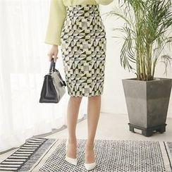 ode' - High-Waist Patterned Pencil Skirt