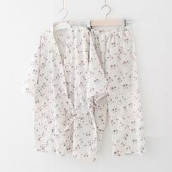 Meimei - Pajama Set: Elbow-Sleeve Floral Top + Pants