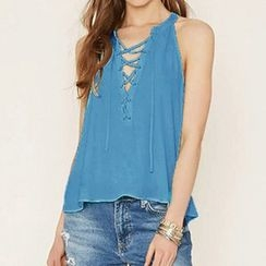 Obel - Lace-Up Sleeveless Top