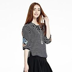 O.SA - Jeweled Striped T-Shirt