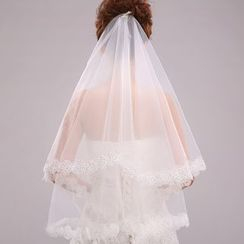 Suaylla - Lace Trim Rhinestone Wedding Veil