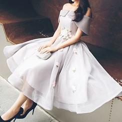 KAKAGA - 花朵貼布一字肩禮服裙