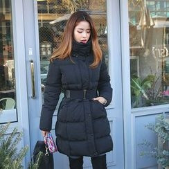 DABAGIRL - Funnel-Neck Belted Thick Duck-Down Puffer Coat