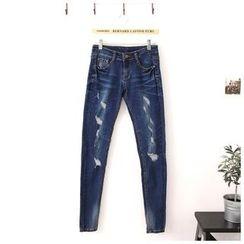 Maymaylu Dreams - 牛仔裤。割破小直筒小脚长裤