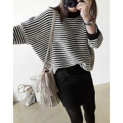 UPTOWNHOLIC - Striped Angora Wool Blend Knit Top