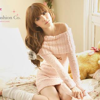 Tokyo Fashion - Off-Shoulder Fuzzy Knit Dress