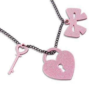Sweet & Co. - Pink Glitter Heart Lock & Key Necklace