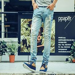 AOYAMA - Washed Slim Fit Jeans