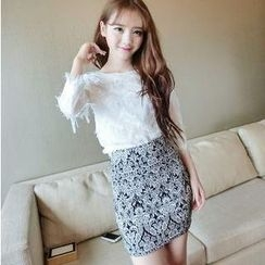 Jack Grace - Set: Lace Top + Floral Skirt