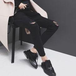 Sonne - 磨毛剪口小脚牛仔裤