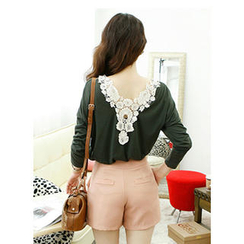 Dodostyle - Long-Sleeved Crochet Trim-Back Top