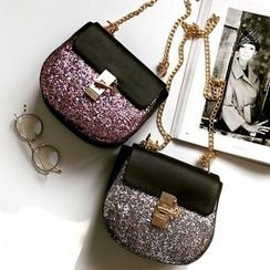 Nautilus Bags - Faux Leather Glitter Crossbody Bag