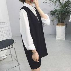 Cloud Nine - Long-Sleeve Mock Two Piece Dress