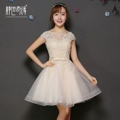 Fantasy Bride - Lace Appliqué Mini Prom Dress
